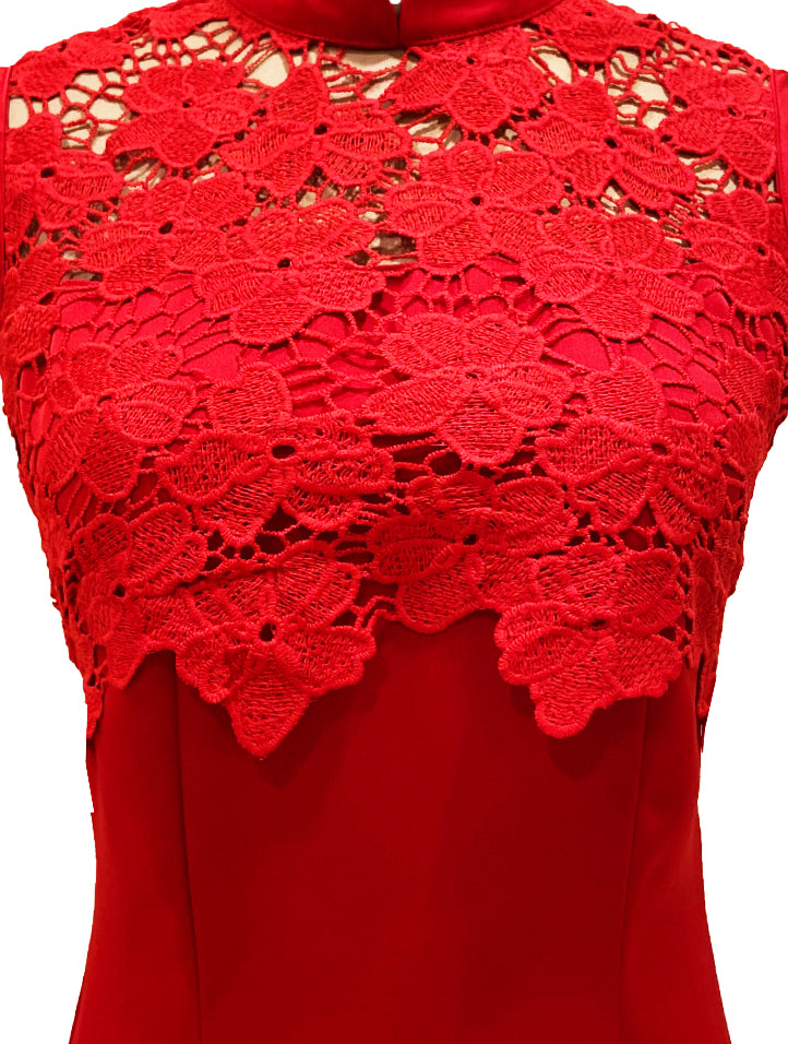 Sleeveless Satin Lace Qipao