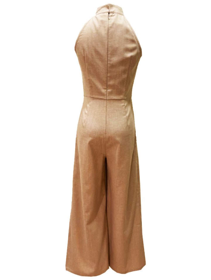 Cut-In Mandarin Collar Jumpsuit