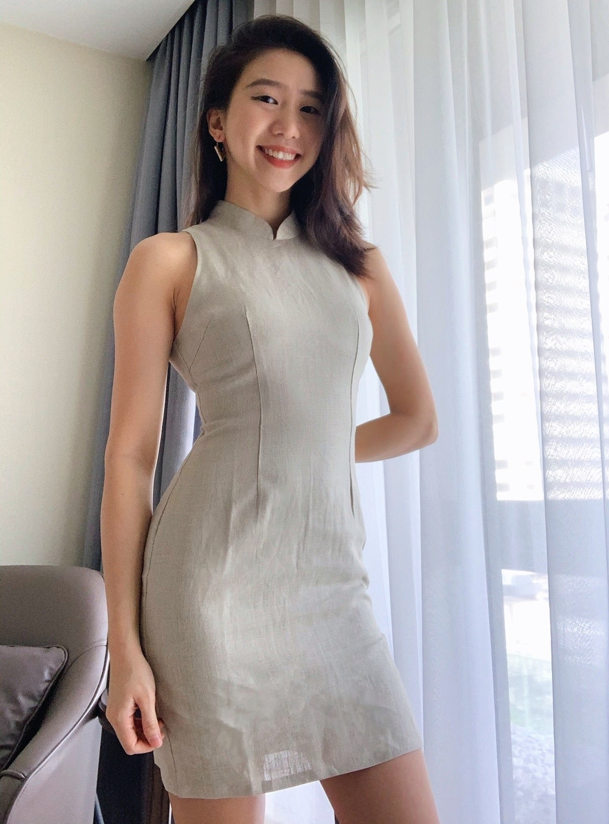 Modern Cut-In Short Qipao with Side Buttons