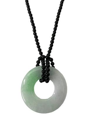Jadeite Bangle with Onyx Bead Necklace