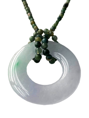 Jadite Bangle with Agate Bead Necklace