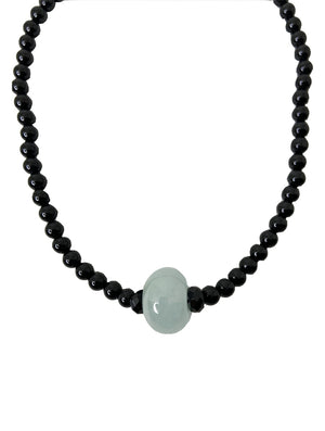 Jadeite Ring Pendant with Onyx Bead Choker
