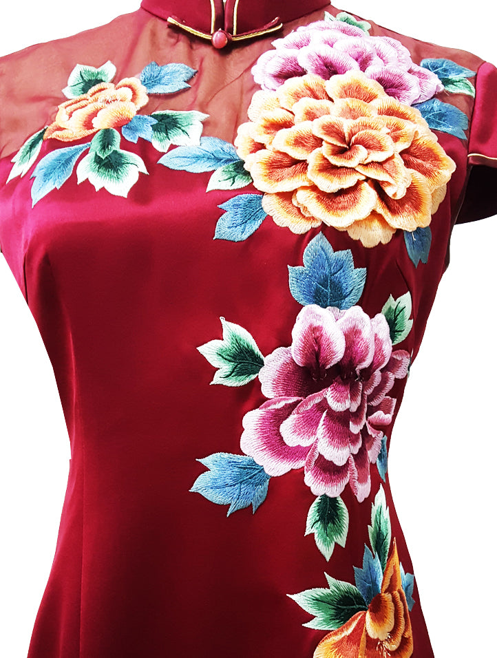 Classic Cap-Sleeve Long Qipao with 3D Embroidery (Pre-Order)
