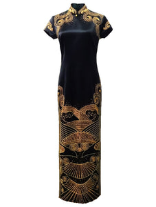 Long Satin Qipao with Imperial Motif Embroidery