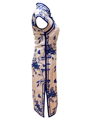 Classic Silk Qipao with Full Embroidery and Traditional Double Bind