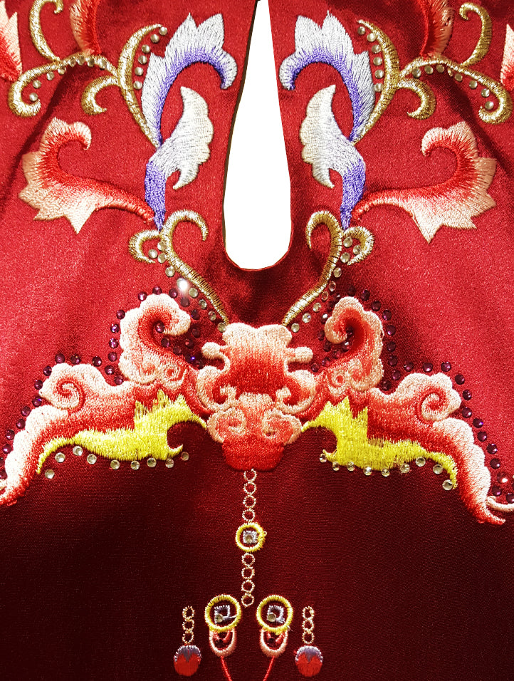 Velvet Cap-Sleeve Cheongsam Gown with Embroidery (Pre-Order)