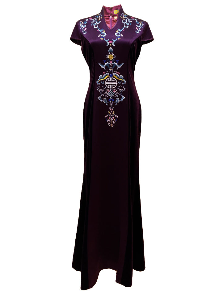 Long Velvet Gown with Embroidery