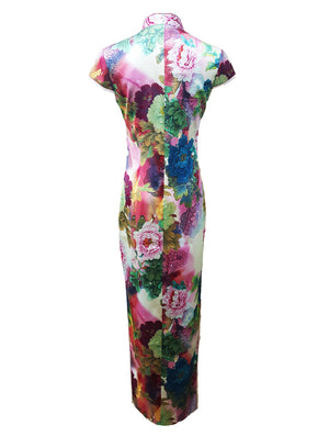 100% Silk Long Qipao in Peony Print (Retail Price: $688)