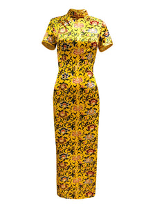 100% Silk Imperial Yellow Long Qipao