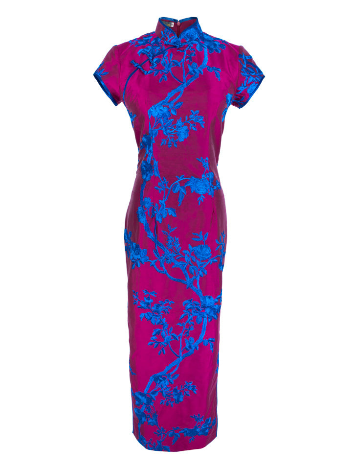 100% Silk Embroidered Long Classic Qipao (Retail Price: $788)