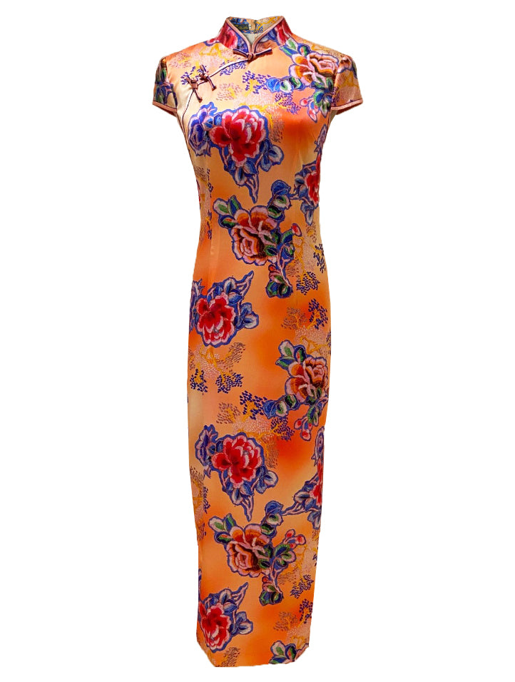 100% Silk Cap-Sleeve Long Qipao (Retail Price: $688)