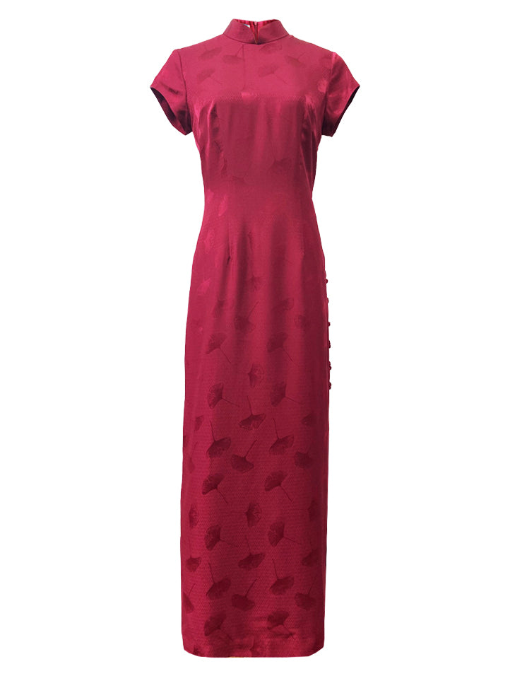 100% Silk Classic Short-Sleeve Long Qipao with Hand-knotted Mandarin Buttons at Side