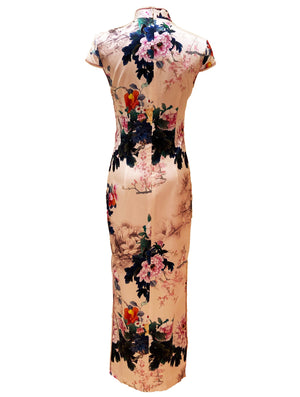 100% Silk Cap-Sleeve Long Qipao