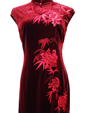 Long Velvet Cap-Sleeve Qipao with Peony Bamboo Embroidery (Pre-Order)