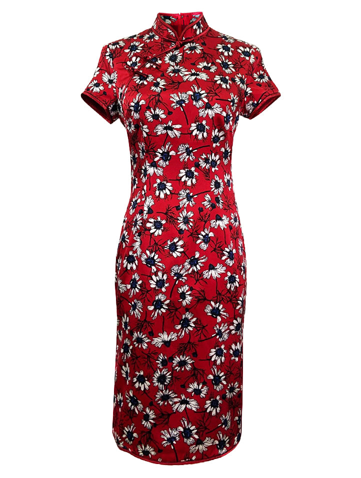100% Silk Short-Sleeve Qipao with Double Bind and Hand-Knotted Mandarin Buttons.