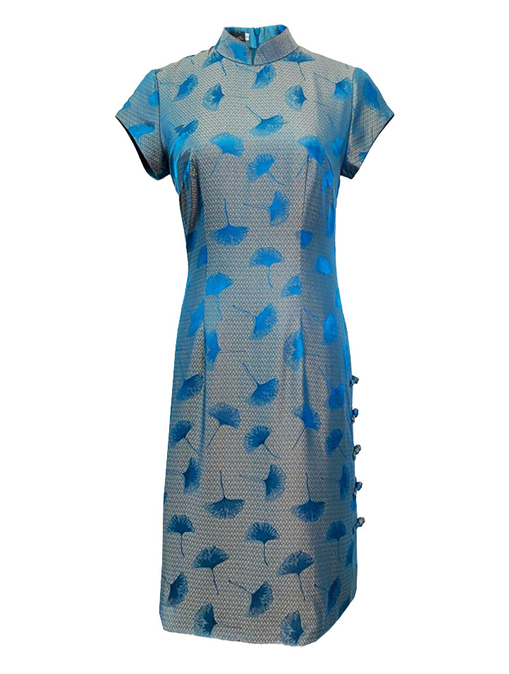100% Silk Short-Sleeve Qipao with Mandarin Buttons at Side