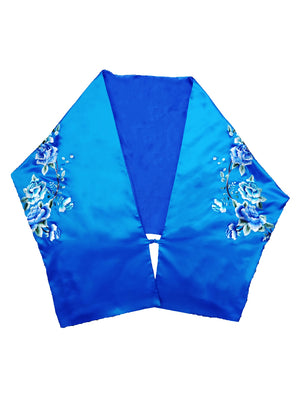 100% Silk and Satin Shawl with Embroidery