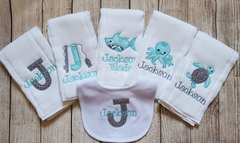 Set of 5 personalized boy burp cloths 1 bib - embroidered newborn burp cloth and bib set - fishing - octopus sea turtle shark - monogram baby shower gift