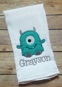 Personalized Monster Burp Cloth - Boy Embroidered Burp Cloth - Monster Applique - Burp Cloth - Baby Boy - Newborn - Baby Shower Gift