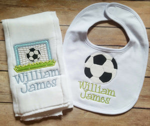 Personalized Bib and Burp Cloth Set - Monogrammed Burp Cloth and Bib Set - Embroidered Baby Gift - Baby Shower - Newborn - Soccer