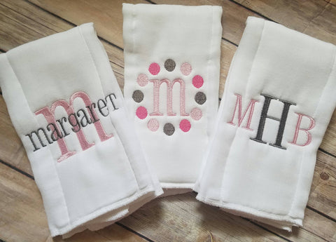 Custom Set of 3 Burp Cloths - Personalized Girl Burp Cloth Set - Monogram Burp Cloth - Newborn - Baby Girl - Monogrammed Baby Girl