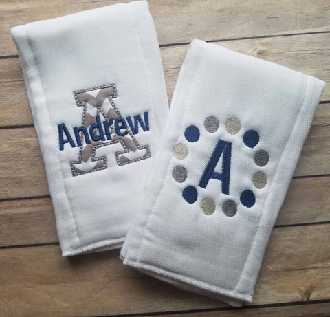 Set of 2 personalized burp cloths - embroidered burp cloth set - monogram baby boy burp cloths - newborn - baby shower gift - baby boy