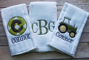 Personalized/Burp Cloths/Monogram Boy/Embroidered Burp Cloth Set/ Tractor/ Green/ Baby Shower Gift/ Boy Burp Cloth/ Newborn/ Set of 3/Custom