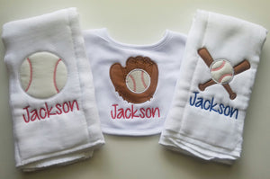Set of 2 Personalized Burp Cloths and Bib - Embroidered Boy Burp Cloths - Newborn - Monogram Bib Set - Baby Shower - Baseball Burp Cloth
