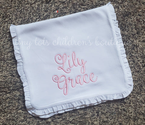 Custom White Ruffle Burp Cloth - Personalized Baby Girl Burp Cloth - Newborn - Monogram - Baby Shower Gift - Embroidered Burp Cloth - White