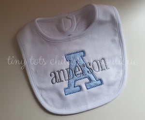 boy personalized cotton bib - applique baby newborn bib - embroidered white bib - custom baby shower gift - monogram boy blue design bib