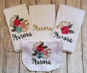 Personalized Burp Cloth and Bib Set - Embroidered Baby Girl Bib and Burp Cloth - Flowers - Monogram - Baby Shower Gift - Newborn - Baby