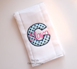 Personalized Baby Burp Cloth - Monogram Embroidered Cloth Diaper - Newborn - Baby Shower Gift