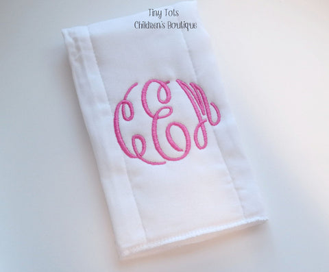 Monogram Baby Girl Burp Cloth - Personalized Burp Cloth - Newborn - Baby Shower Gift