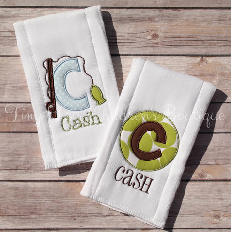 Fishing Burp Cloth Set - Personalized Boy Burp Cloths - Embroidered Fishing Burp Cloth - Monogram - Baby Newborn Gift