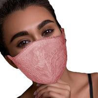 Exquisite Lace Flowers Washable Reusable Face Mask. 2 Pieces - yambi.co.uk