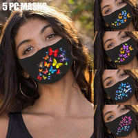 Fashion Chic Butterfly Print Reusable Face Mask Women 5PC - yambi.co.uk