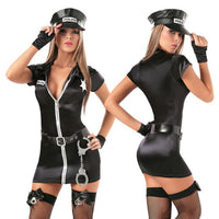 Women Dress Sexy Cosplay Police Costume Policewomen Role Play Uniform Party Dance Performance Uniform Suit Mini Female Dress - yambi.co.uk
