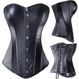 Sexy Black PVC  Gothic Corset - yambi.co.uk