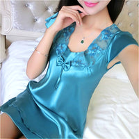 Deep V Neck Women Satin Nightgown - yambi.co.uk