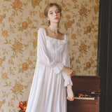 Victorian Style, Long Sleeve Sleepwear Embroidered Viscose Nightgown. - yambi.co.uk