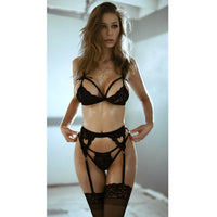 3pcs Sexy set Lace Garter, Bra & Thong - yambi.co.uk