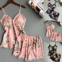 Satin Shorts And Top Pajamas Sleepwear Set - yambi.co.uk