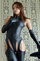 Sexy wet look Catsuit With Long Gloves and Pants. - yambi.co.uk