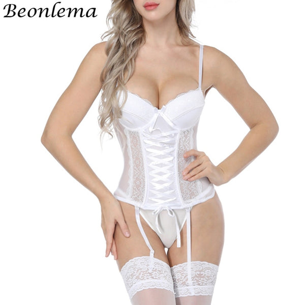 Beonlema Women Sexy Underwear Corset Erotic Korse Transparent Lace Mesh - yambi.co.uk