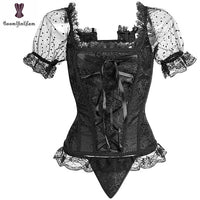 Transparent Corset  Short Sleeves Women Bustier Size S - 6XL - yambi.co.uk