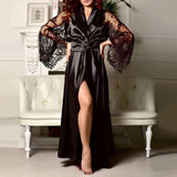 Lace Patchwork Long Bathrobes Nightgown Soft Silk Dressing Gown - yambi.co.uk