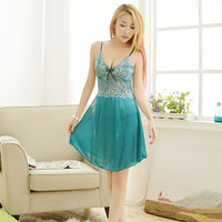 Sleep Dress Nighties For Women Sling Lace Embroidery Sheer - yambi.co.uk