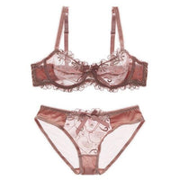 Embroidery Lingerie Set Women Bra, Sexy Coloured Transparent Bra and Brief Set - yambi.co.uk