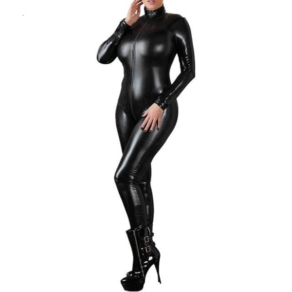 Sexy Black Female Catsuit, Latex Bodysuit Front Zipper Open Crotch, - yambi.co.uk