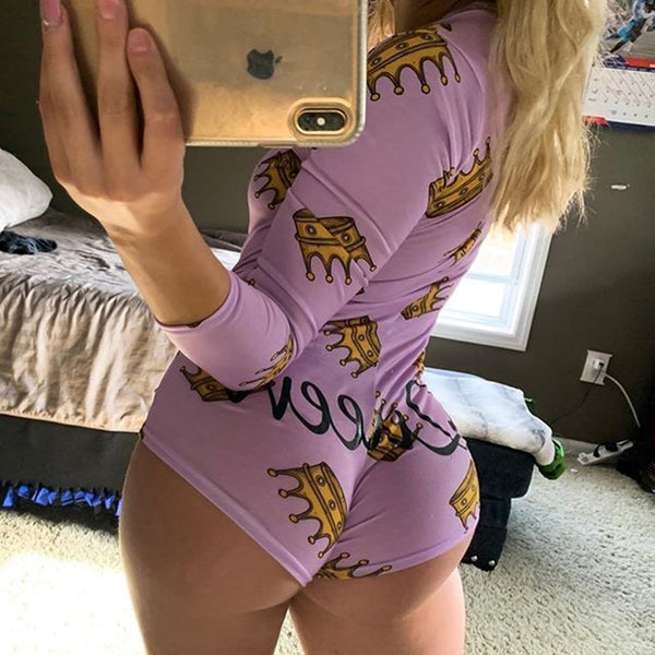 OMSJ Autumn Cotton Body Rompers 2019 New Wome's Long Sleeve Jumpsuits Night Clubwear V-neck Letter Print Skinny Bandage Playsuit - yambi.co.uk
